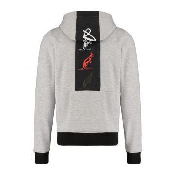 Australian sportswear zip hoodie tape logo | gemêleerd grijs