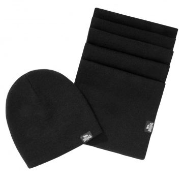 Lonsdale set scarf and beanie Leafield   black