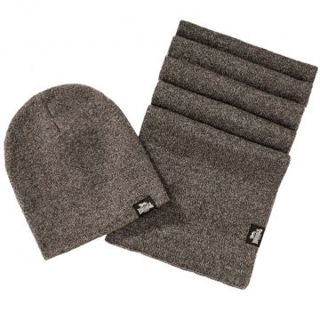 Lonsdale set scarf and beanie Leafield   marl brown