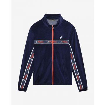 Australian vest with orange stripe velvet fabric   navy blue