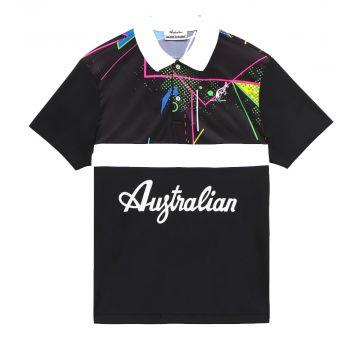 Australian polo with print and white stripe   black 563