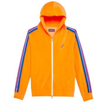 Australian ladies jacket with multicolored piping velor fabric | orange