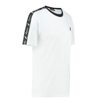 Australian T-shirt with black stripe on shoulders | white