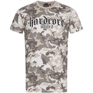 Hardcore United T-shirt goth logo print | camou grey