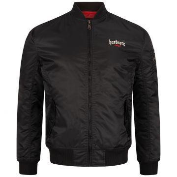 Hardcore United bomber jacket embroidered goth logo red outline | black