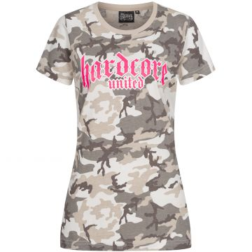Hardcore United ladies T-shirt pink goth logo print | camo gray