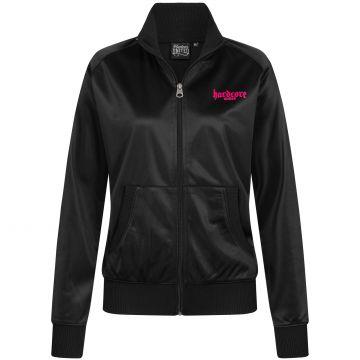 Hardcore United dames hooded zipper roze goth logo print   zwart