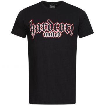 Hardcore United T-shirt goth logo print red outline | zwart