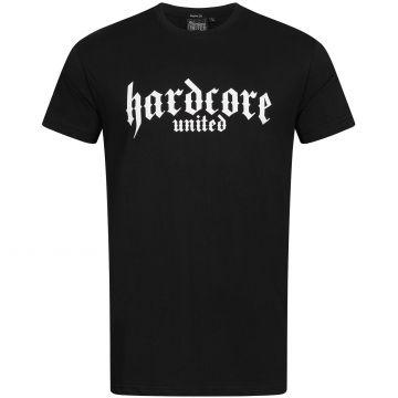 Hardcore United T-shirt white goth logo print   black