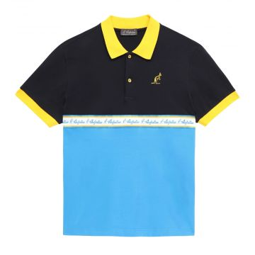 Australian polo with blue stripe   black - capri blue