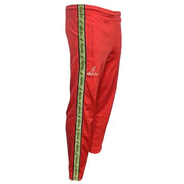 Australian pants with gold stripe and 2 zippers   red