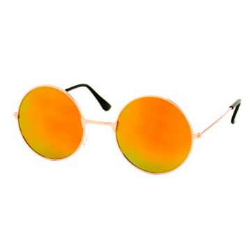 Loud and Clear glasses mirror glass round metal gold | red - orange