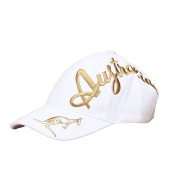 Australian cap gold crossover embroidery exclusive | white