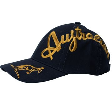 Australian cap gold crossover embroidery exclusive | black