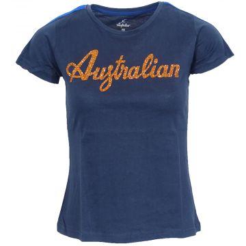 Australian dames t-shirt glitter logo met bies | navy