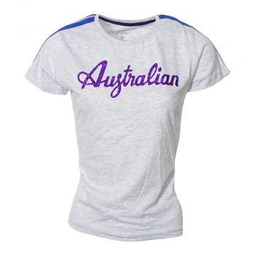 Australian dames t-shirt glitter logo met bies | gemêleerd grijs