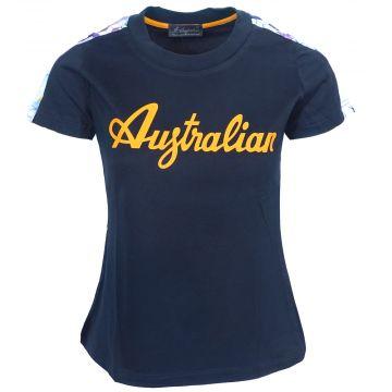 Australian dames t-shirt oranje logo met bloemen bies | navy 200