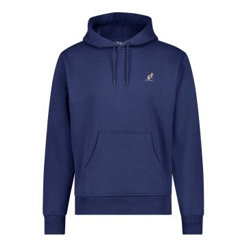 Australian hooded sweater met verticale zwarte bies 2.0 op de rug   cosmo blauw