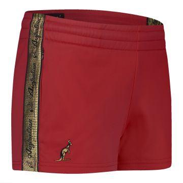 Australian dames hotpants met gouden bies 2.0   bordeaux rood