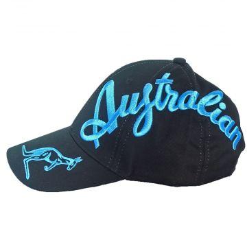Australian cap crossover logo EXCLUSIVE | black X smurf blue text