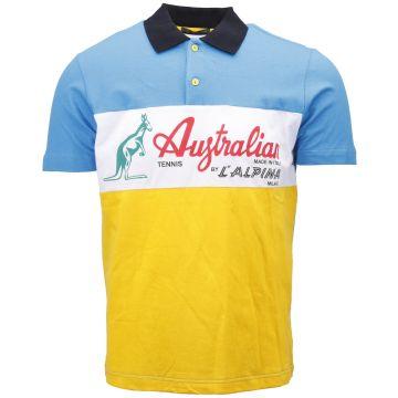 Australian polo   blue - yellow