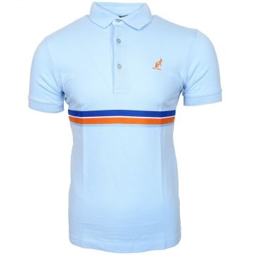 Australian polo with multicolored piping   ice blue