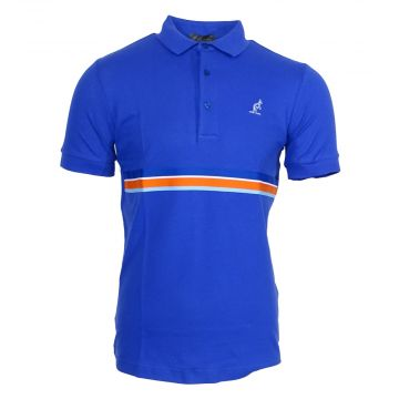 Australian polo with multicolored piping around the waist   royal blue