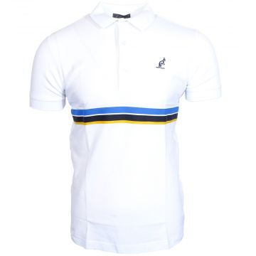 Australian polo with multicolored piping around the waist   white