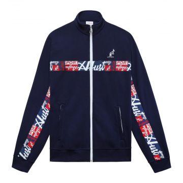 Australian sportswear vest abstract logo stripe   navy