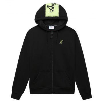 Australian sportswear zip hoodie fleece logo | black