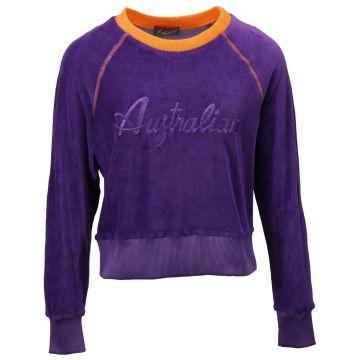 Australian ladies sweater with glitter logo velvet fabric   purple
