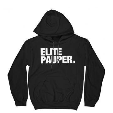 ELITE PAUPER. hooded sweater with pocket   logo X black