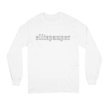 ELITE PAUPER. longsleeve goth logo | white