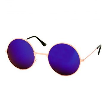 Loud and Clear glasses mirror glass round metal gold | blue - purple