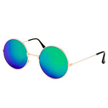 Festival / Gabber glasses mirror glass round metal gold | green - blue
