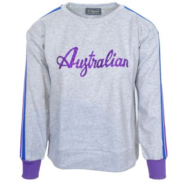 Australian ladies sweater with multicolored trim and glitter logo   mottled gray