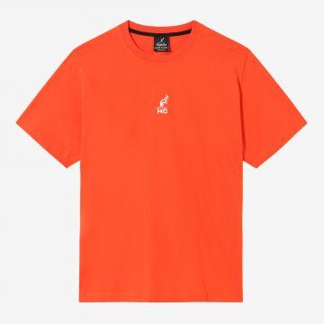 Australian Hard Court T-shirt angel artwork on back | lava