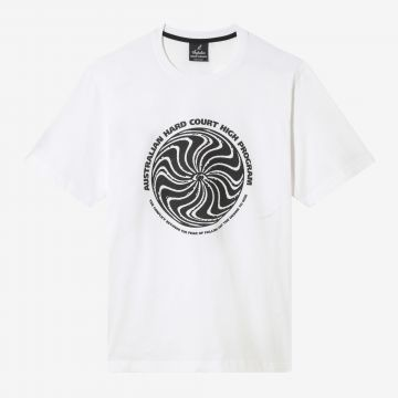 Australian Hard Court T-shirt the conflict artwork on the front | white