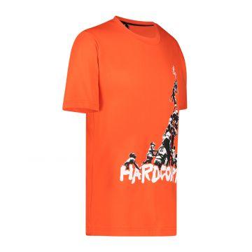 Australian Hard Court T-shirt the climb artwork on the front | lava
