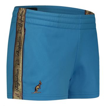 Australian ladies hotpants with gold stripe 2.0   teal blue
