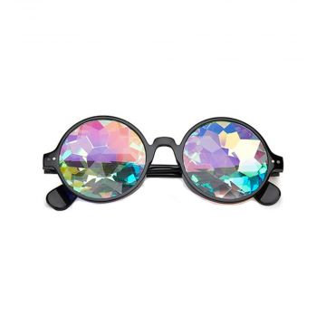 Loud and Clear kaleidoscope glasses round flower | black