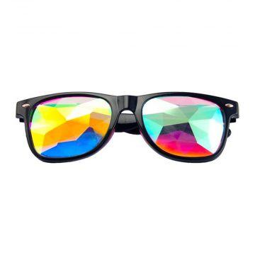 Loud and Clear kaleidoscope glasses wayfarer diamond | black