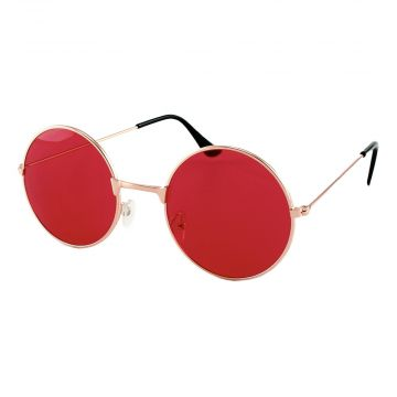 Loud and Clear ronde zonnebril metaal goud | rode glazen