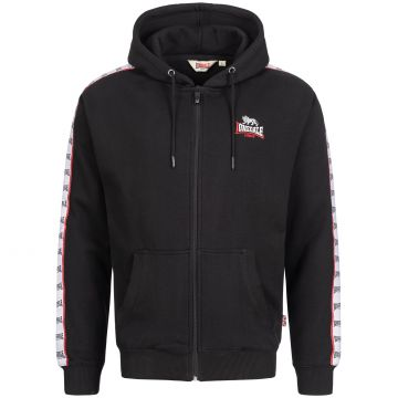 Lonsdale Zip Hoodie Logo Embroidery on Chest + Logo Trim | black