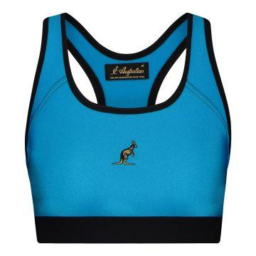 Australian dames glossy sporttop   aqua blauw