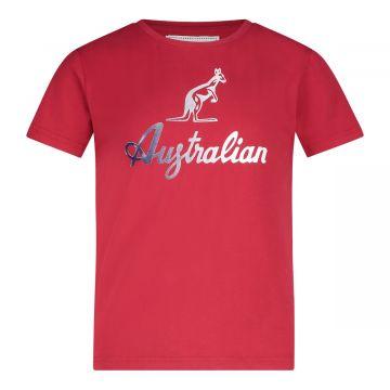 Australian kids T-shirt reflecterend logo | rood