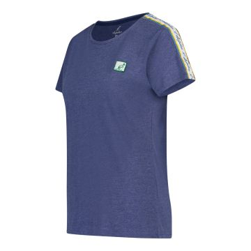 Australian dames t-shirt patch logo met bies   gemêleerd blauw