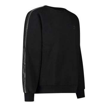 Australian crewneck with silver stripe 2.0 on the sleeves   black