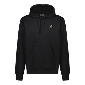 Australian hooded sweater with vertical gold stripe on the back   black
