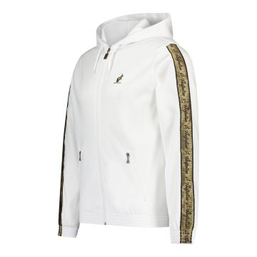 Australian jack with hood and gold stripe on the sleeves | white